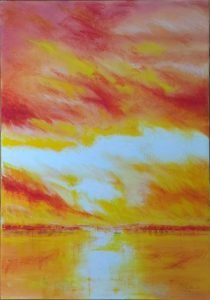 Sunset oil painting 2003 Denise Gemin author