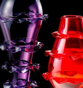 Plisset Murano glass collection Vases collection 2009 Violet and red color