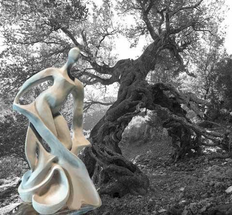 Metamprphosis Ipazia scultura Leccio sardo millenario